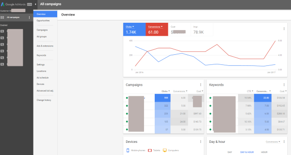 New Google AdWords Interface