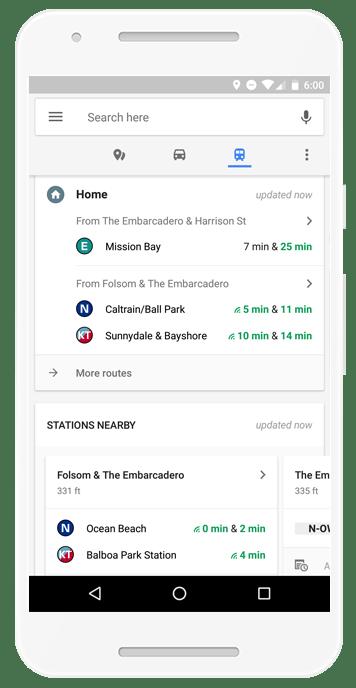Google maps update transit