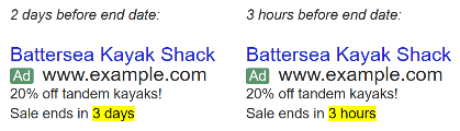 adwords countdown customizer example