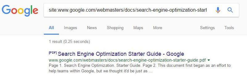 Google SEO Guide now indexed