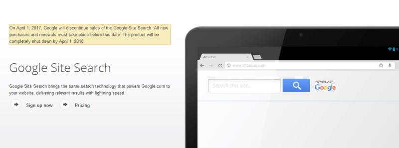 google site search screenshot