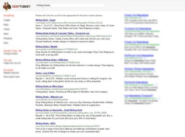 SERP Turkey mock-up of SERPs