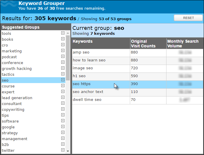 WordStream Keyword Grouper screenshot