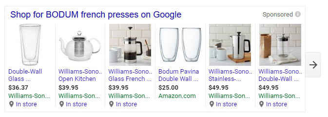 "Williams-Sonoma advertising products for ""Bodum French Press"" keyword search results."