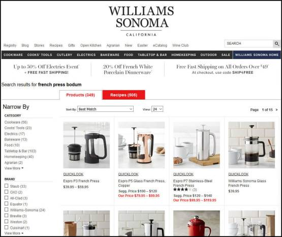 Williams-Sonoma website's Bodum French Press search results page