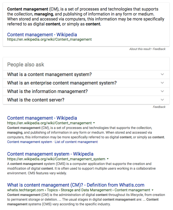 content management serp