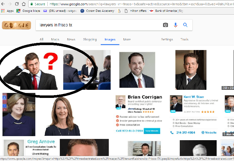 A stock image looks fake next to real pictures of lawyers in Google Image search results