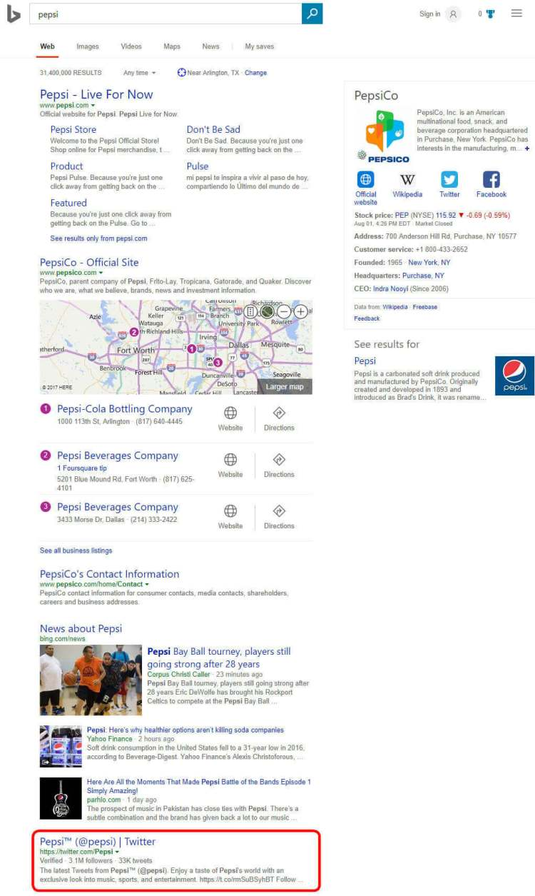 Pepsi's Twitter account in Bing's search results