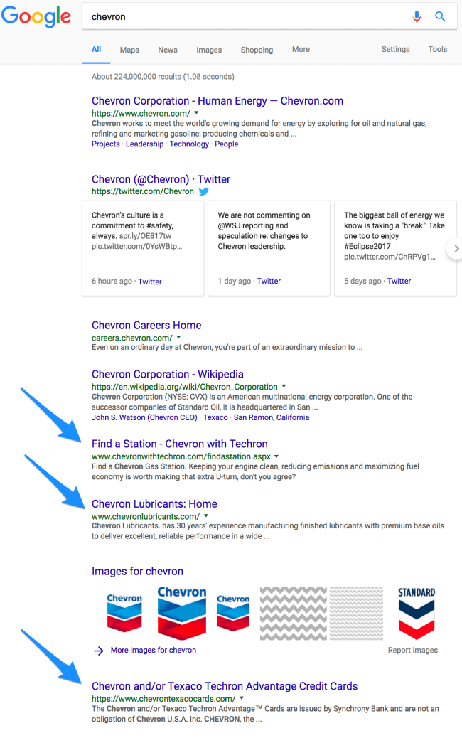 chevron microsites in google search results