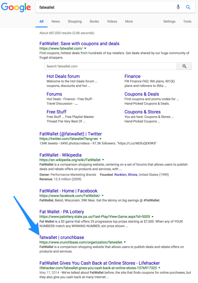 fatwallet crunchbase profile in search results