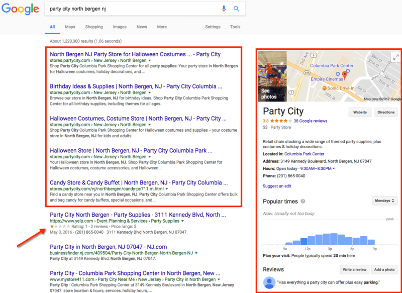 Party City Store Landing Page outranking Yelp result