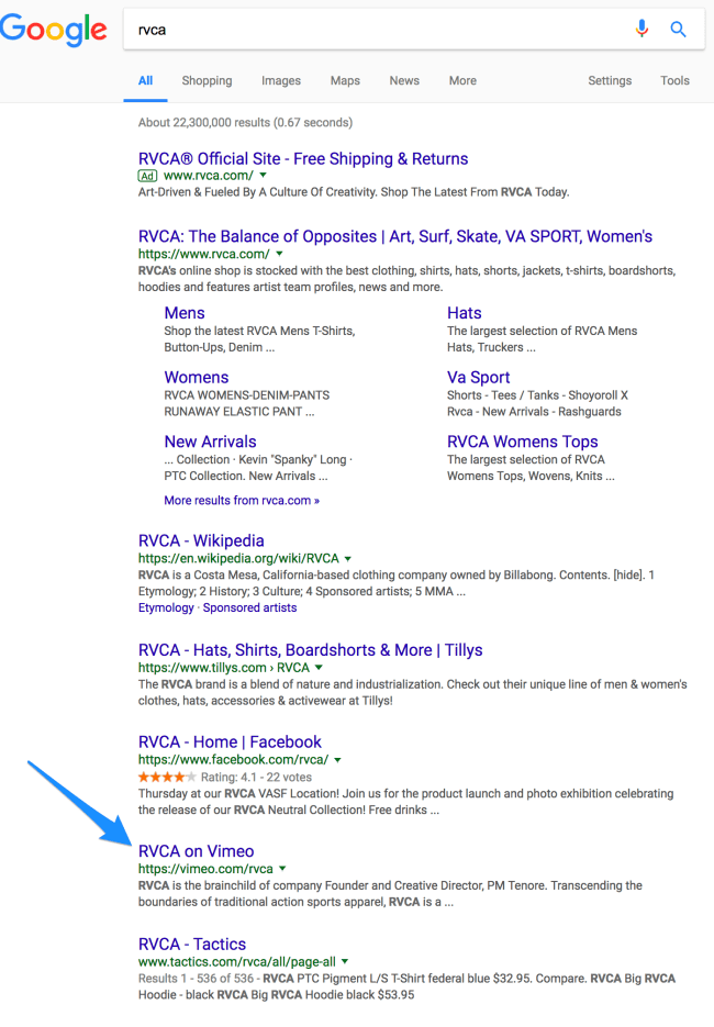 rvca vimeo profile in google search results