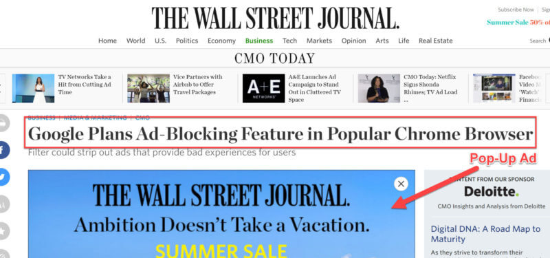 Wall Street Journal Pop-Up Ad