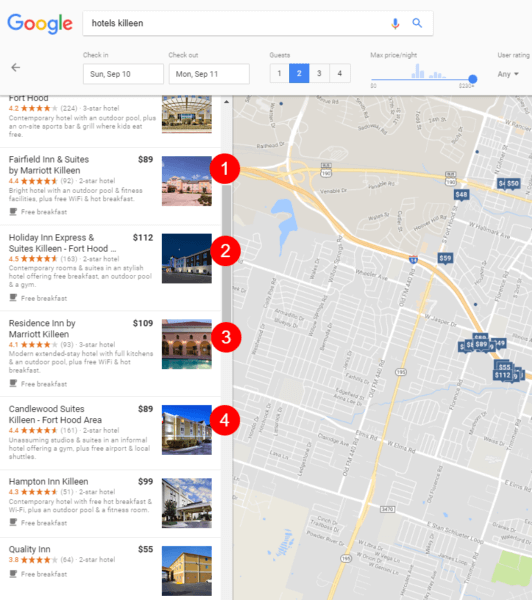 Hotels Killeen 2 532x600 - August 22, 2017: The day the 'Hawk' Google local algorithm update swooped in