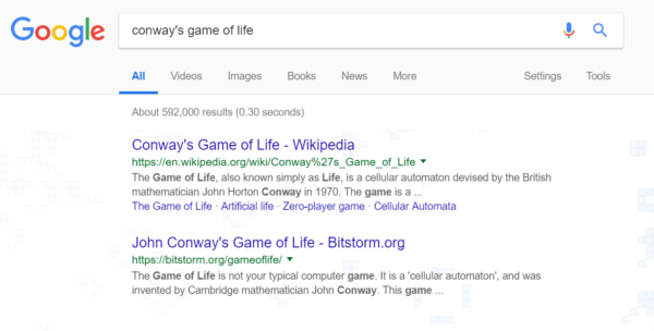 Google Easter egg: Conways game of life
