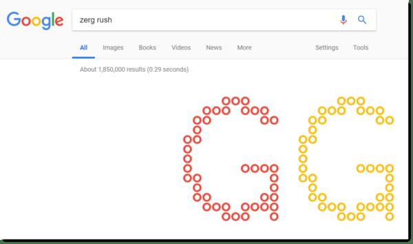 Google Easter egg: zerg rush