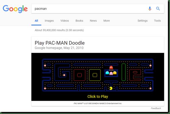Google Easter egg: Pac-Man