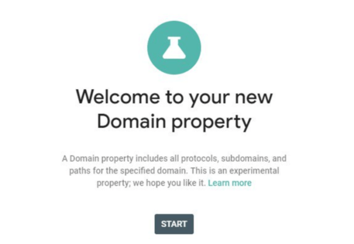 screenshot with text saying Welcome to your new Domain property