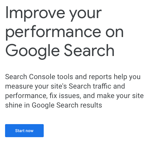 Google Search Console Welcome Text