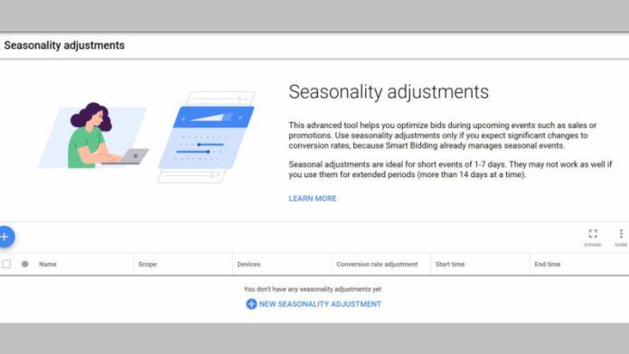 Seasonality bid adjustments in Google Ads.