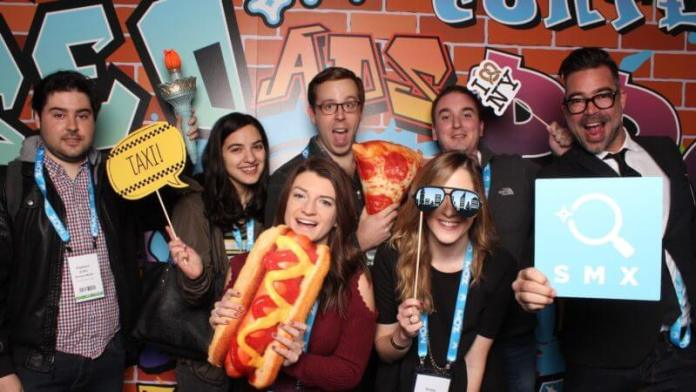 Photobooth picture of SMX East attendees