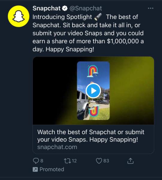 Snapchat Spotlight ad on Twitter