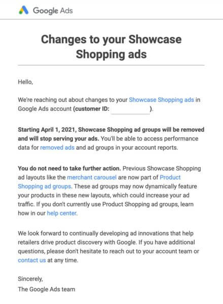 Google's email to advertisers announcing the deprecation of Showcase Shopping ads.