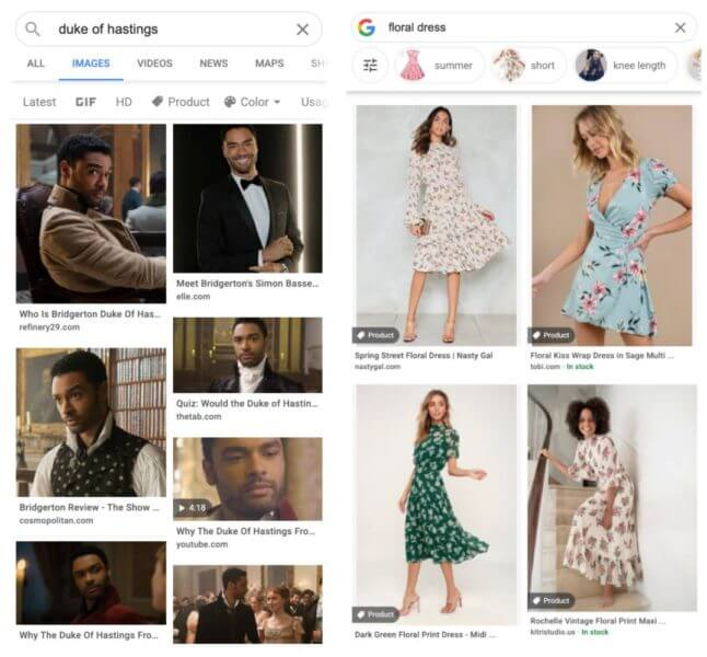 Example of a google image search for duke of hastings and floral dress