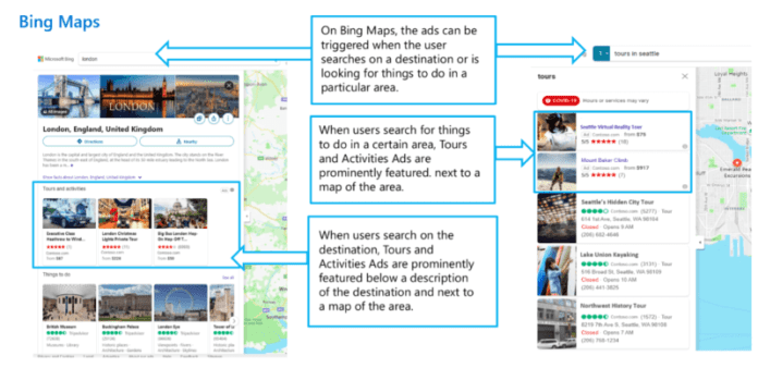 Tours and activities ads in Bing Maps
