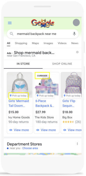 Local inventory ads with pickup options.