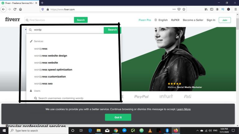 Fiverr search