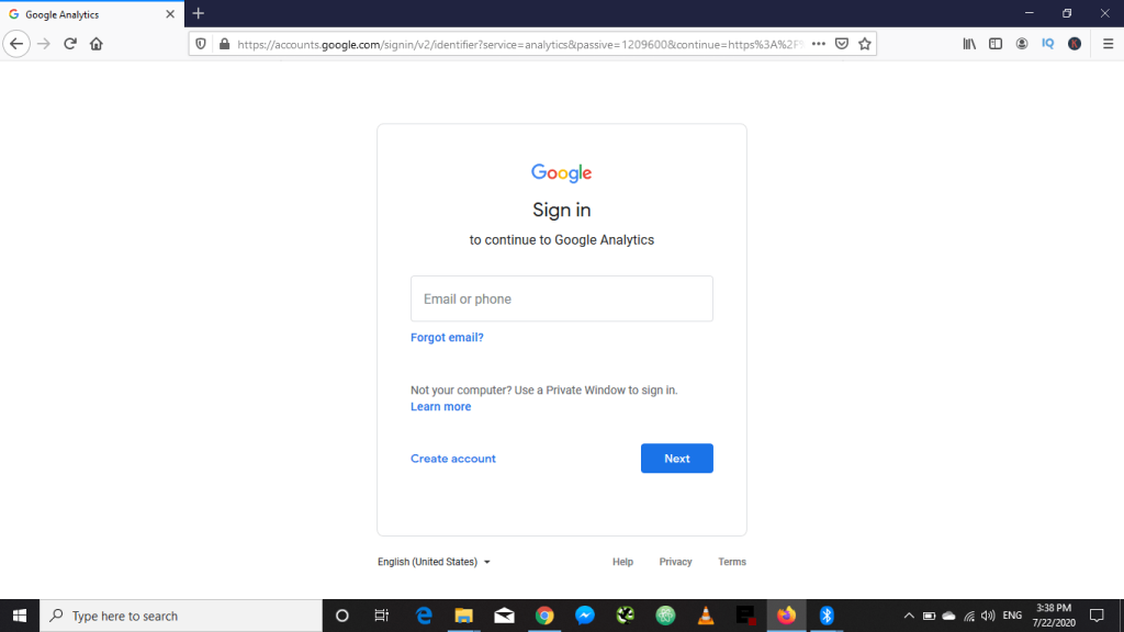 Gmail sign up for Google Analytics
