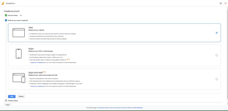 Google Analytics measure options