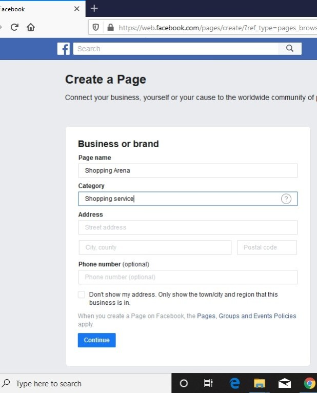 business page details