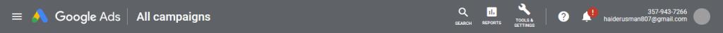 Google Ads header bar