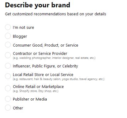 decription of brand in Pinterest