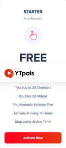 ytpals free YouTube subscribers plan