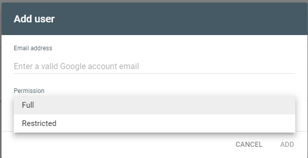 access to new user in Google search console