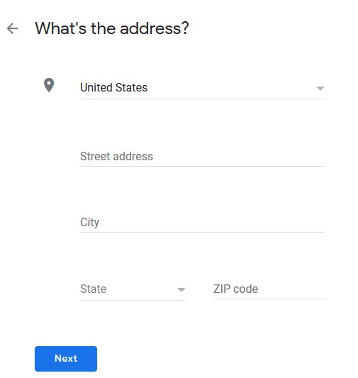 address in Google My Business