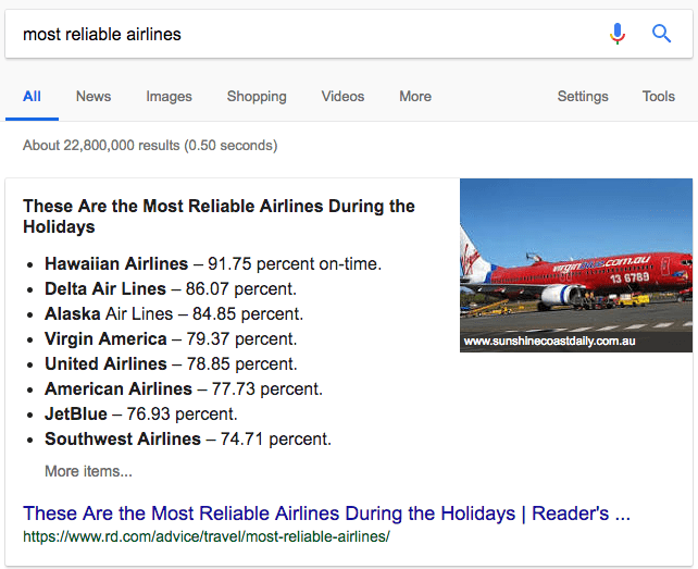 featured snippet most reliable airlines