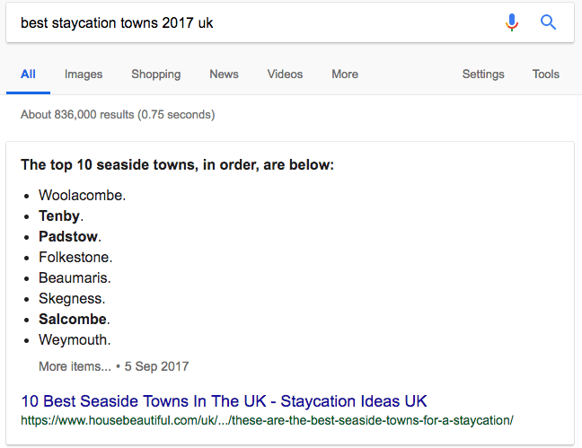 staycations ranking