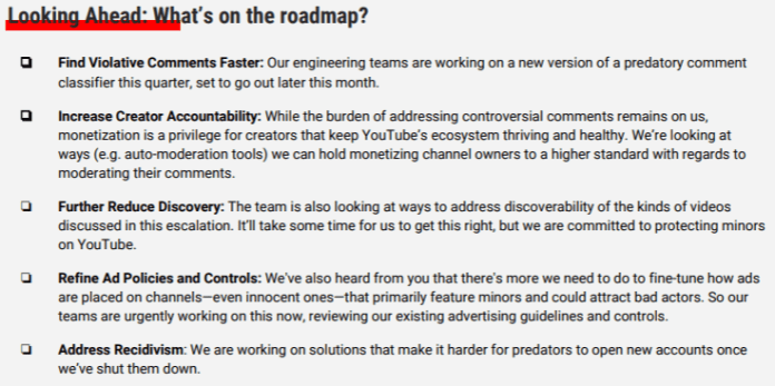YouTube memo: Looking ahead, what's on the roadmap?