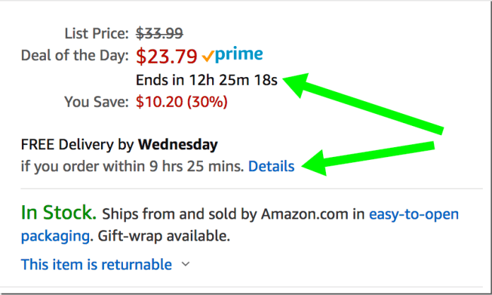 image of amazon example of adding urgency for how to increase conversions