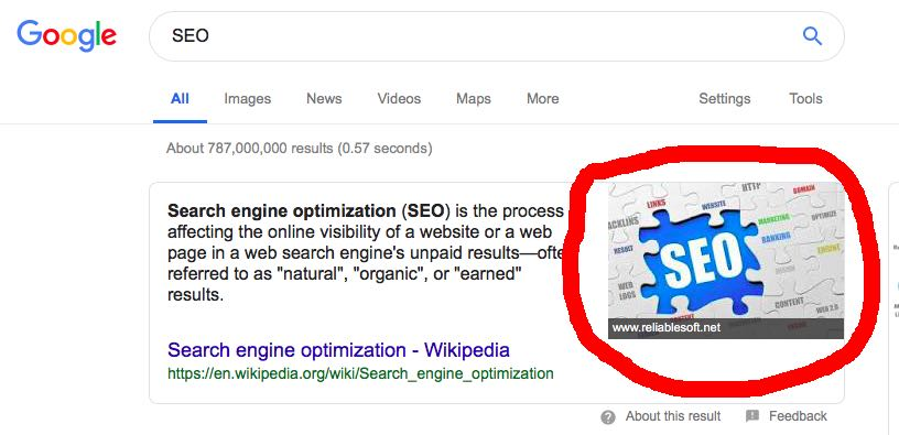 Example of Google snippet image for query SEO