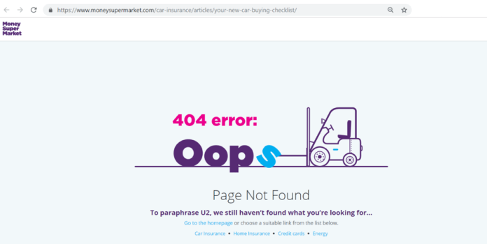 Snapshot of the 404 error