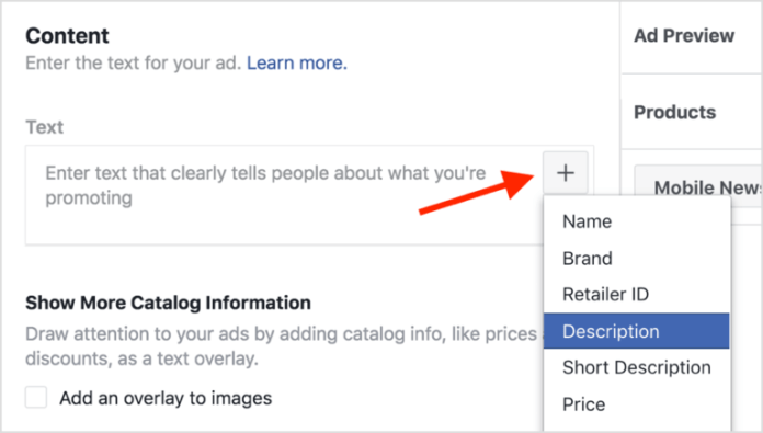 Adding ad copy details in Facebook dynamic ads