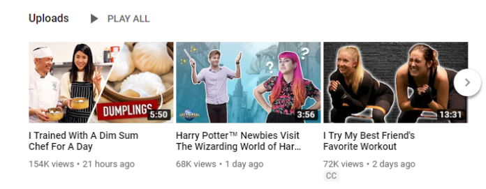 Example of customized YouTube video thumbnails