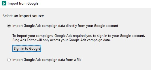 Screenshot of importing Google ads campaign data