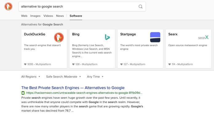 "duckduckgo query for ""alternatives to google search"""