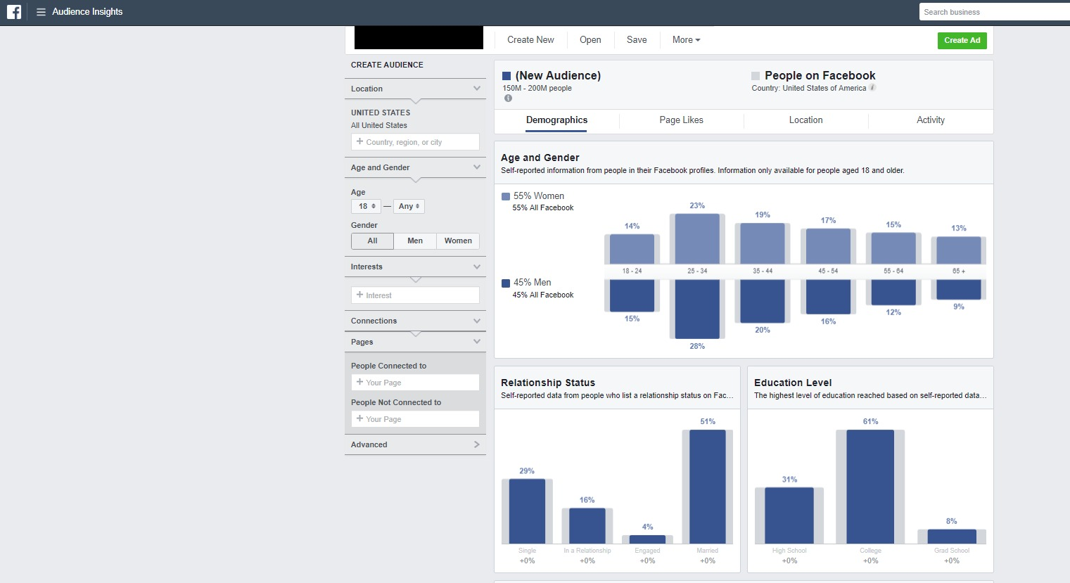"""Screenshot of the """"Insights"""" tab on Facebook Audience Insights"""